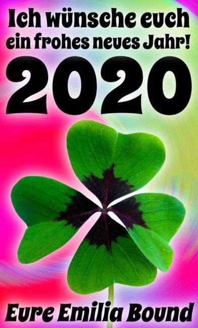Grußkarte Neujahr 2020 mit einem Kleeblatt